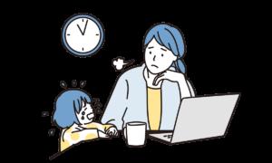 パソコン前でぐずる女の子